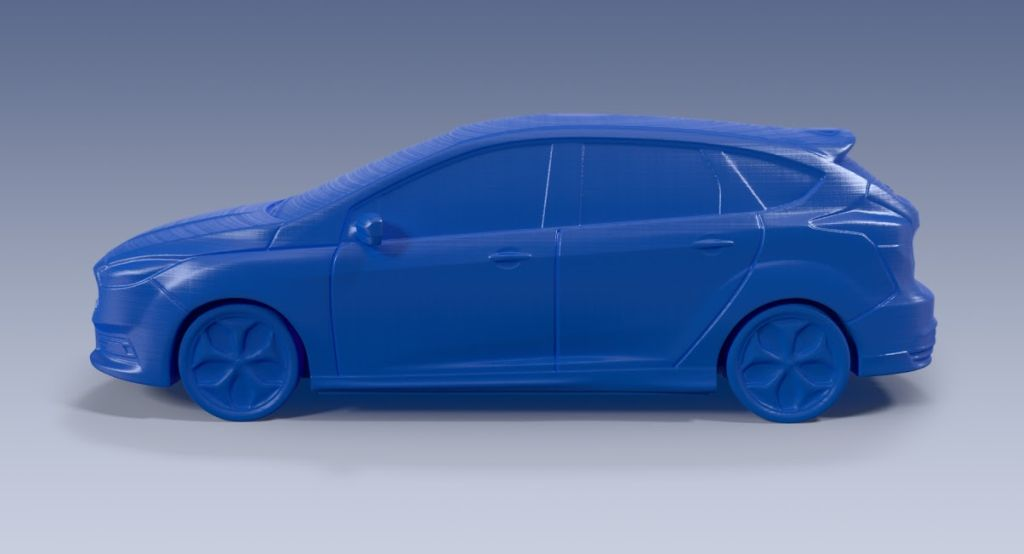 3D printed model of the Ford Focus ST from the Ford 3D Store.