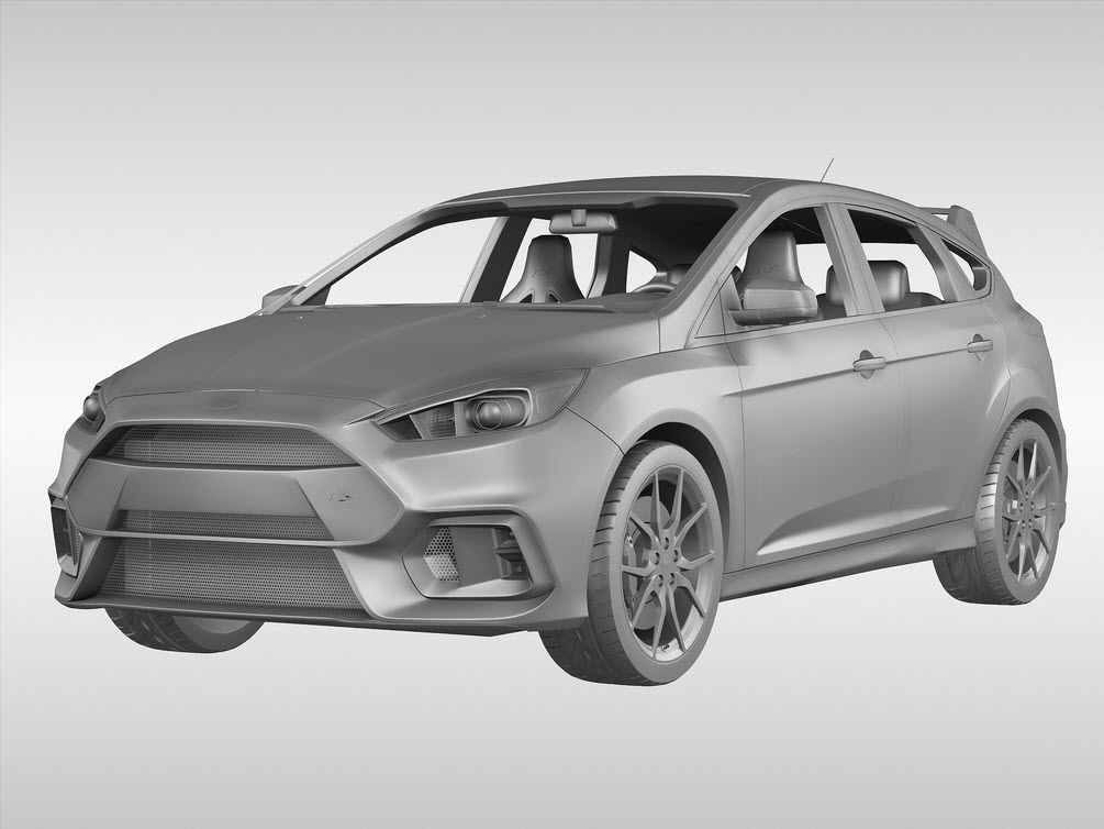 3D printed model of the Ford Focus RS 2016 from the Ford 3D Store.