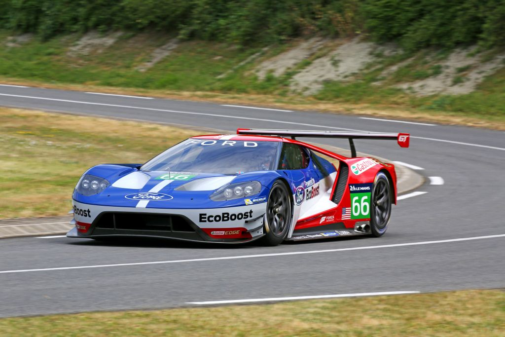 The new Ford GT race car for WEC and Le Mans competition unveiled today at Le Mans, France. The Ford GT race car will debut in 2016, and will be campaigned by Chip Ganassi Racing.