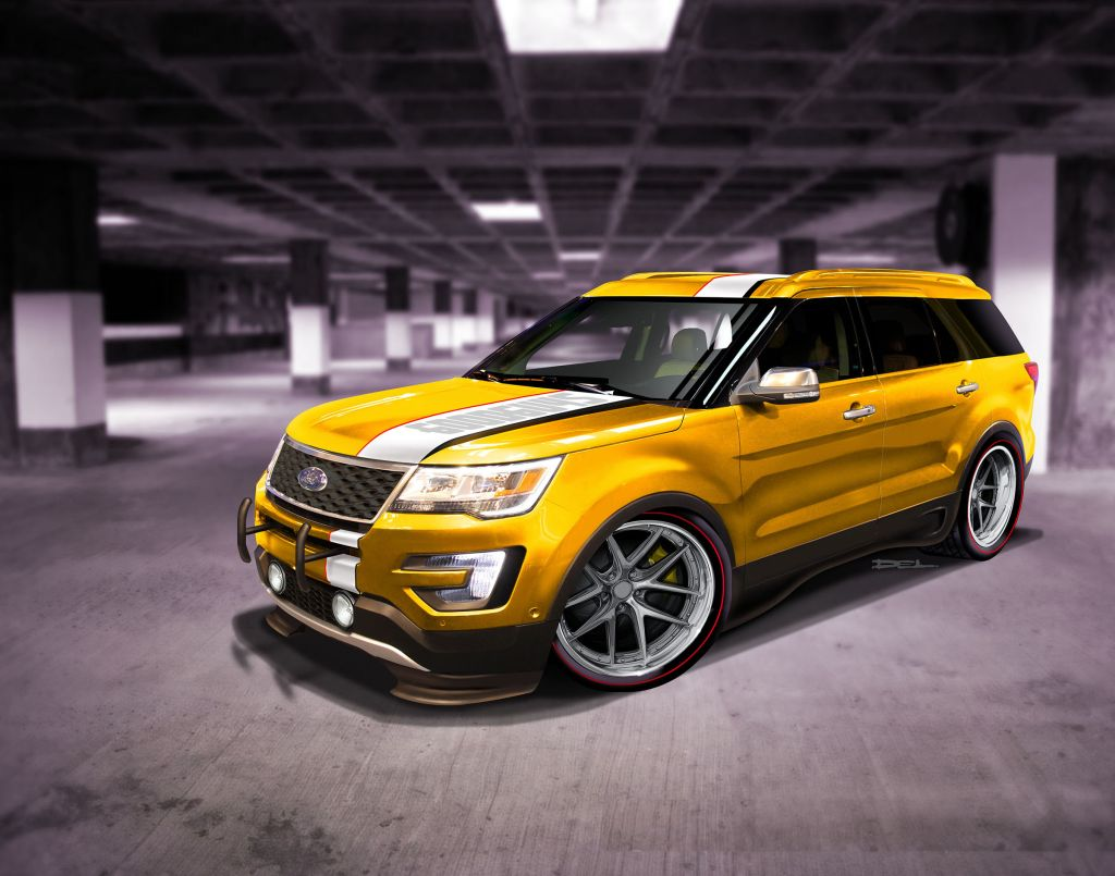 This Explorer Sport demands attention from its screaming paint scheme using PPG paint, custom sound system utilizing Kicker Audio components, and throaty Flowmaster mufflers and tailpipes.
