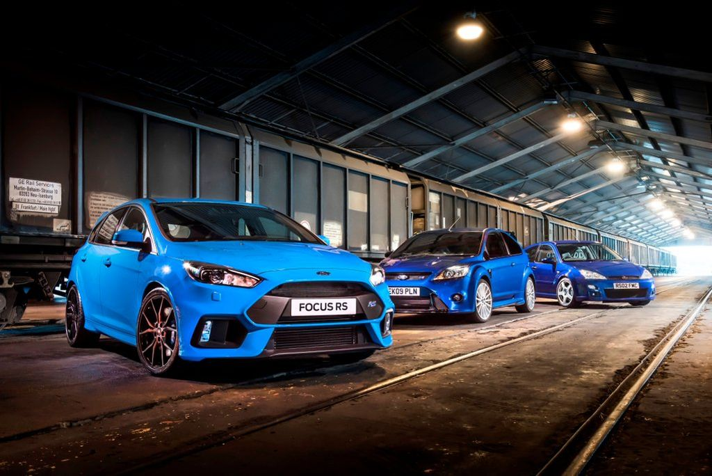 Three generations of the Ford Focus RS