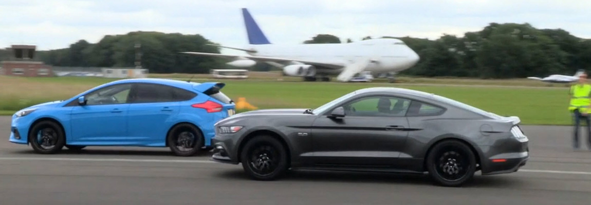 Top Gear Drag Race Ford Mustang vs Focus RS