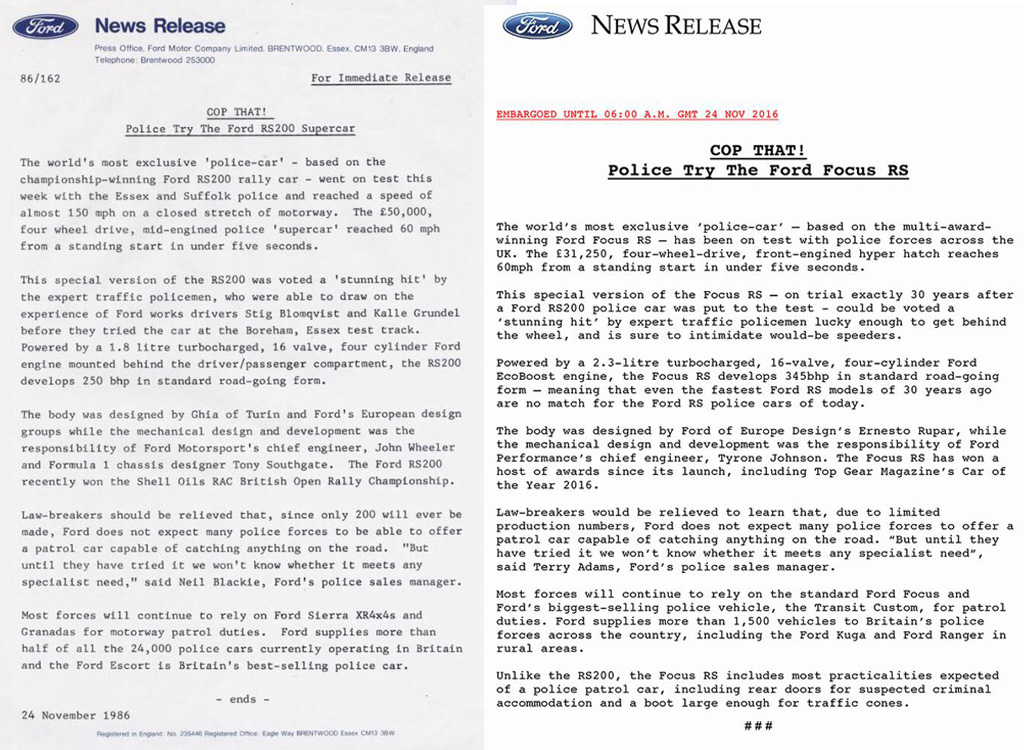 1986 RS200 and 2016 Focus RS Press release