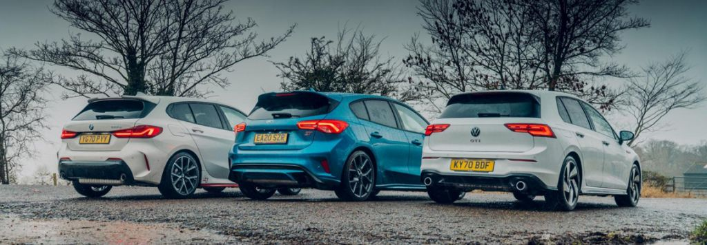 Topgears test 'Hot Hatches voor elke dag' de BMW 128i vs Golf GTi vs Focus ST